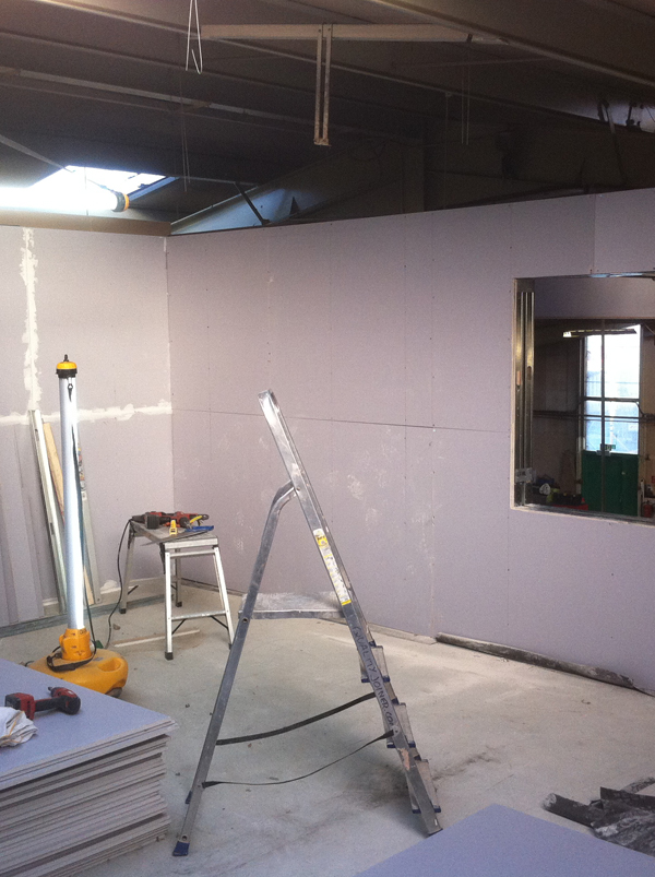 Stage 9 - Soundproofed walls being built
