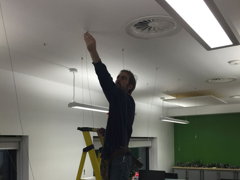 Stage 8 - Installing wire hangers for sound treatment panels