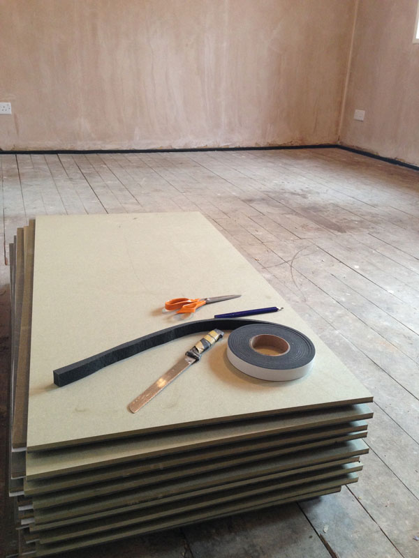 Stage 5: Acoustic overlay floor ready to fit
