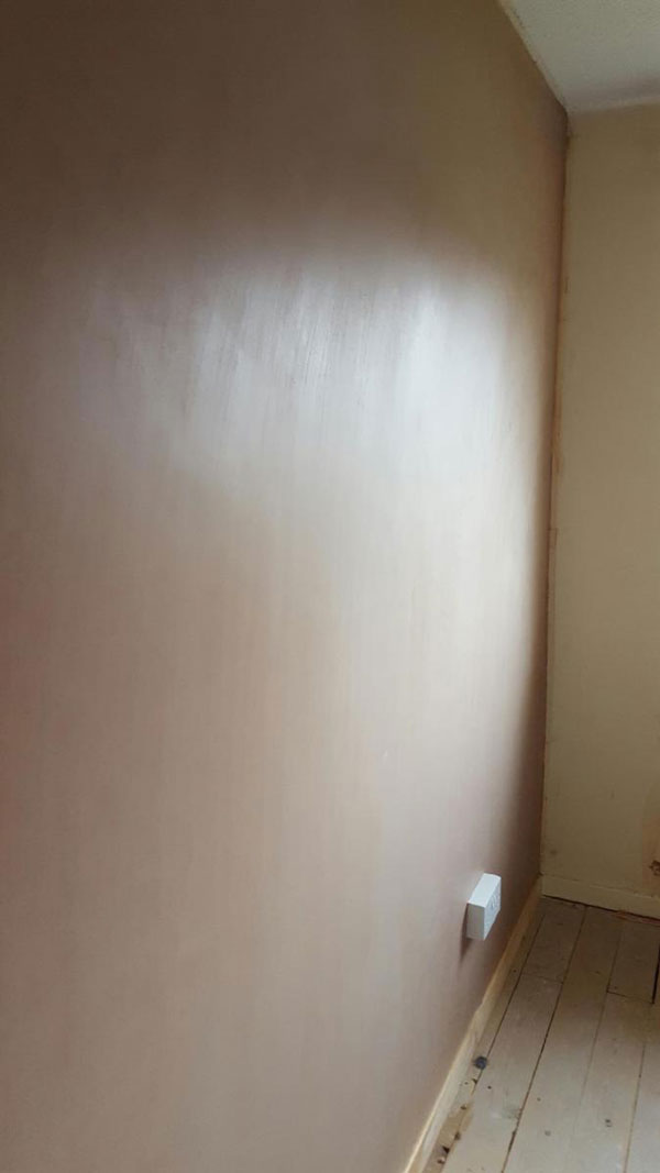 Stage 16 - Completed soundproofed wall system with plaster skim