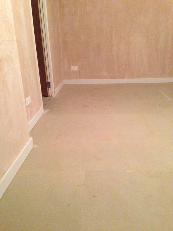Stage 9: Overlay soundproofed floor with door