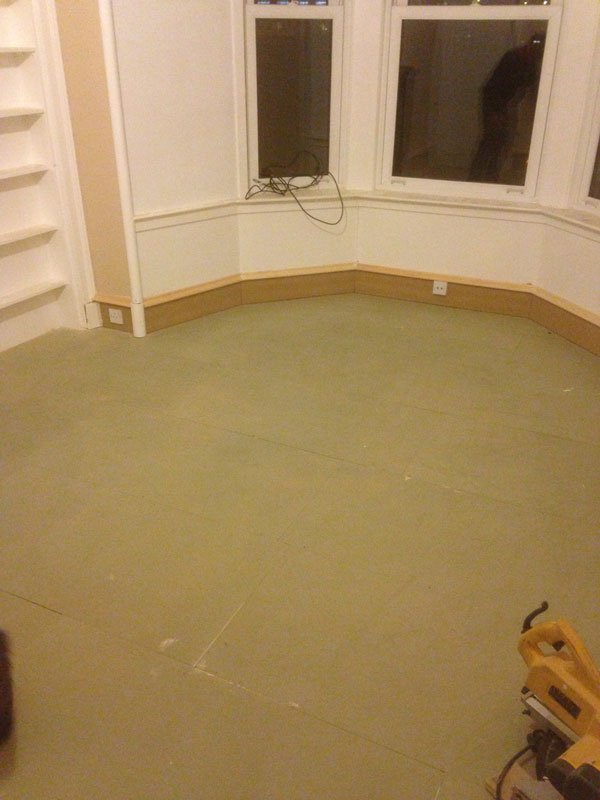 Stage 11: Acoustic overlay floor system complete bay window