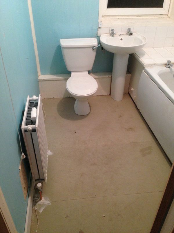 Stage 12: Bathroom reinstalled on to overlay floor