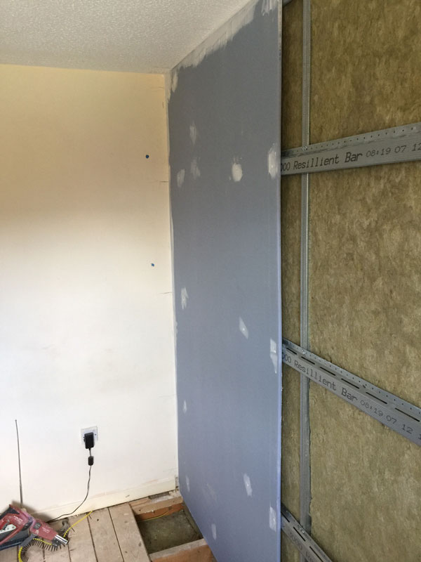 Stage 8 - 1st acoustic board fitted